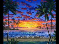 How To Paint A Colorful Sunset With Acrylic On Canvas Complete Video Lesson Painting Class - YouTube