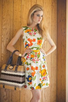 Poppy Prep Cotton Ellery Dress and Wicker Cathy Bag 1960s Fashion, Look Fashion, Vintage Fashion, Womens Fashion, Fashion Trends, Sporty Fashion, Hippie Fashion, Ski Fashion, Fashion Black