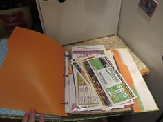 Home binder idea...3 hole punch a manilla folder and use as tabs and sheet protectors as a pocket for the loose stuff