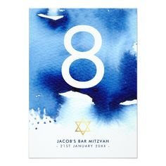 Shop TABLE NUMBER Bar Mitzvah gold star blue watercolor created by simplysweetPAPERIE. Wedding Table Numbers, Bar Mitzvah, Gold Stars, White Envelopes, Paper Texture, Color Schemes, Typography, Watercolor, Weddingideas
