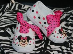 Girl's Custom Painted MINNIE MOUSE Inspired Tennis by paintmama, $65.00