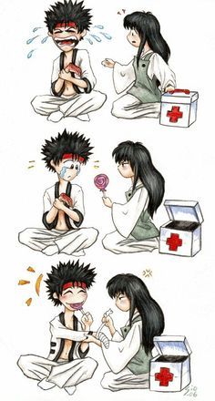 This is so cute and partly acurate because even tho Sano is tough as nails hd can be a really big baby sometimes Rurouni Kenshin, Kenshin Anime, Manga Anime, Anime Art, Manga Girl, Anime Girls, Kenshin Le Vagabond, Era Meiji, Samurai Anime