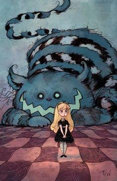 Alicia y el gato de Cheshire.