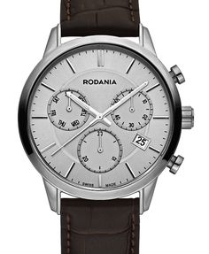 Popular Rodania 251130 chronograph model with sapphire glass, silver dial, brown leather strap and waterproof for Watch Brands, Chronograph, Brown Leather, Sapphire, Popular, Watches, Glass, Silver, Model