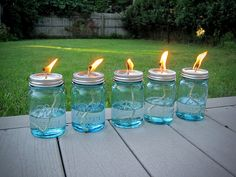 Mason Jar Citronella Oil Lamps:  1. A vintage ball point jar of your choosing 2. A fiberglass wick (tends to last a little longer than cotton wicks) 3. Lamp oil 4. 10 Drops of Pure Citronella Oil All you need to do: 1. Fill the jar with the oil to within one inch of the top 2. Add 10 drops of citronella oil 3. Pierce the lid and insert the wick