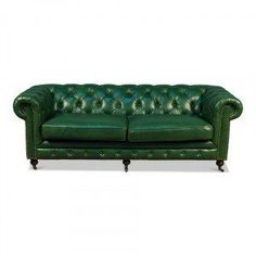 Jade Green Leather Chesterfield Sofa - Modern Glam #modernglam, #sofasandsettees