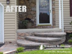 Award-winning landscapers in Lancaster, PA feature a project in Ephrata, using EP Henry pavers and block to transform a front yard patio and walkway. Curved Patio, Front Yard Patio, Front Deck, Front Entry, Concrete Front Steps, Concrete Porch, Side Walkway, Outdoor Walkway, Small Front Yards
