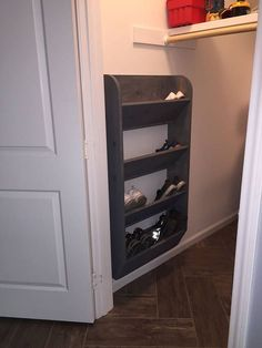 Love this space saving shoe rack. Would be perfect in a closet or mud room. Keeps shoes organized and off the floor. #wood #organization #ad