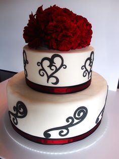 Classic Hearts and Swirls Wedding Cake Red and Black - http://www.thatsmycake.net/gallery#