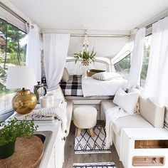 A renovated pop-up camper trailer by @zevyjoy