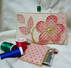 Jewel Box Bag - fun bag using blackwork stitches in colors with gold beads and accents