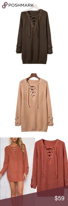 🎉NEW IN🎉 💞❤Lace up sweater❤️ (Military Green) 🎉NEW IN🎉 💞❤Lace up chunky sweater tunic❤️ (Military Green) best for casual wear!! So cozy and comfy. 🎉 Sweaters