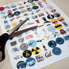 Bottle Cap Template; How put pins on  Bottle Caps.  #DIY