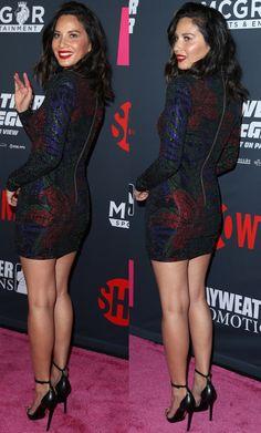 "Olivia Munn wearing a Balmain dress and classic Saint Laurent ""Jane"" sandals at the Mayweather vs. Beautiful Legs, Most Beautiful Women, Olivia Nunn, Outfit Vestidos, Balmain Dress, Sexy Legs And Heels, Great Legs, Beautiful Celebrities, Look Fashion"