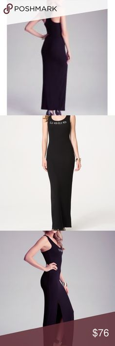 Bebe Women's Dress Bebe Women's Red Side Slit Tank Maxi Dress with Bebe rhinestone logo in front. Sleeveless tank cut, with a fitted full body. Styles well as day-to-play wear. Please bundle with beautiful jewelry options in my closet for extra discounts. New with Tags bebe Dresses Maxi