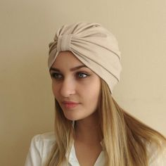Women's turban, full turban hat, stretchy viscose jersey turban, egg nog Hijab, Headband, cream turb
