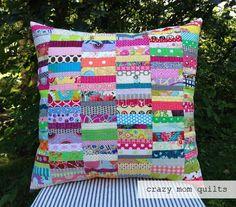 Scrap Fabric Crafts Crazy Mom - scrap happy pillow (with tutorial link) (crazy mom quilts). Scrap Fabric Projects, Fabric Scraps, Quilting Projects, Sewing Projects, Quilting Ideas, Patchwork Cushion, Quilted Pillow, Patchwork Quilting, Crazy Patchwork