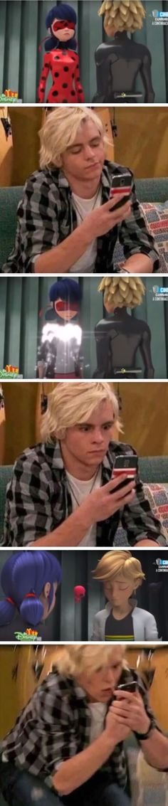 Me at this whole scene. Me and my sister just realized that Ross Lynch would make the perfect Chat Noir/Adrien!!!!!!!!!