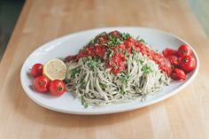 Basil Cashew Cream Sauce and Tomato Purée- on zucchini noodles