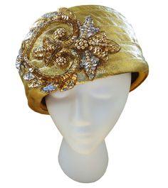 Vintage 1960s Geo W Bollman Yellow Metallic Gold Jeweled Doeskin Wool Felt Hat  #GeorgeWBollmanCo #Church