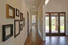 White trim, dark doors & windows -  Country Contemporary - transitional - Hall - Austin - Redbud Custom Homes