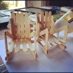 Popsicle stick chairs I made with my little girl #awesome  (Taken with instagram)