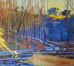 """""""Cliff Dwellers - Cascadilla Gorge"""" oil painting by Brian Keeler of West End Gallery - Corning, NY. See more paintings by Brian Keeler here: http://www.westendgallery.net/photo-gallery/Artist-Gallery-Brian-Keeler"""