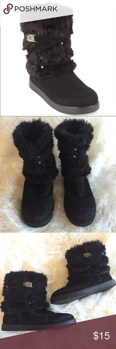 G by Guess Archy faux fur boots These boots are in very good condition! Comfy and true to size! There is some light scuffing on the toes. Non-smoking pet free home. Man made materials. G by Guess Shoes Winter & Rain Boots