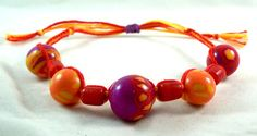 Hippie Boho Orange Purple Beaded Macrame Friendship Bracelet Made with Polymer Clay and Glass Beads Egyptian Cotton, Adjustable & Stackable, Handmade by HeartMesaGifts on Etsy