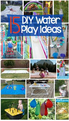 15 DIY Water Play Projects - If you are looking for have some creative fun in the sun, try making one or more of these fun water play ideas (Cool Crafts For Outside) Outdoor Water Activities, Summer Activities For Kids, Diy For Kids, Kids Fun, Family Activities, Outdoor Activities For Toddlers, Summer Fun For Kids, Backyard Water Parks, Backyard For Kids