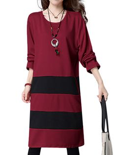 Sale 10% (29.79$) - Casual Patchwork Stripe Long Sleeve Loose Women Dress