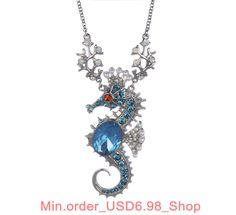 Ocean Style Silver-Tone Sea Horse pendant Long chain Jewelry Gift Necklace J102 #OEM #Pendant