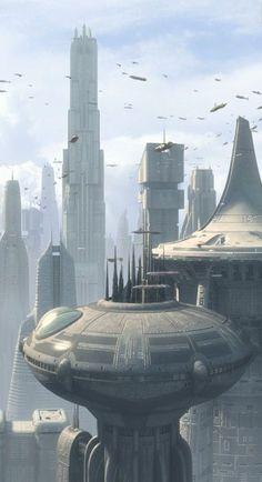 Upper level sky transportation and skyscraper buildings on Coruscant. Fantasy City, Fantasy Places, Sci Fi Fantasy, Fantasy World, Futuristic City, Futuristic Architecture, Star Wars Zeichnungen, Art Science Fiction, Sci Fi City