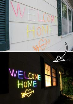 #15. Create glow words and phrases on the outside wall of house.