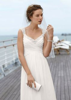 Charming A-line 2013 Beaded Ruched Cap Sleeves White Long Chiffon Destination Wedding Dresses Under $200 WD-2242