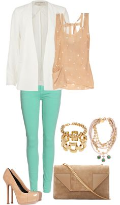 """White Blazer, Nude Tank and Mint Jeans"" by high-uintas on Polyvore"