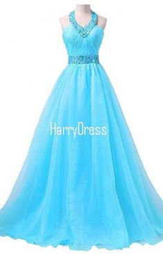 Blue Long Chiffon A Line Floor Length Beading Appliques Lace Prom Dress