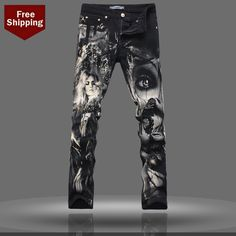 2015 hombres recién llegado Jeans impreso patrón pintadas moda impreso pantalones pantalones largos delgados Epacket envío gratis en Jeans de Moda y Complementos Hombre en AliExpress.com | Alibaba Group