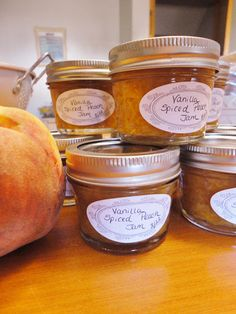 Frugal Foodie Mama: My Second Canning Venture- Vanilla Spiced Peach Jam Jelly Recipes, Jam Recipes, Canning Recipes, Canning Labels, Spiced Peach Jam, Spiced Peaches, Jam And Jelly, Preserves, Spices