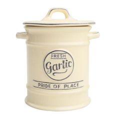 T&G Woodware Ceramic Pride of Place Garlic Cellar Jar, Old Cream