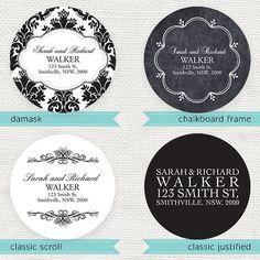 personalized return address label circles - printable file - simply elegant on Etsy, £10.89