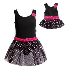 9952f8c4cf5 Another great find on Black   Pink Heart Rosette Skirted Leotard   Doll  Leotard - Girls by Dollie   Me