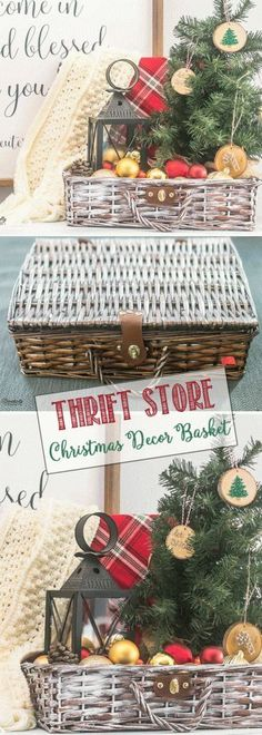 Thrift Store Painted Christmas Decor Basket | Thrift Store Makeover | Paint DIY   #christmas #paint #thriftstore