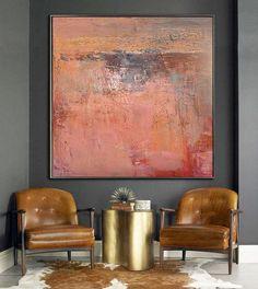 Gran arte abstracto a mano óleo sobre lienzo por CelineZiangArt