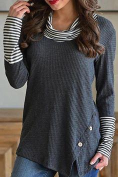 Fashion Striped Turtleneck Long Sleeve Top #Turtleneck, #SPONSORED, #Striped, #Fashion, #Top #Adver