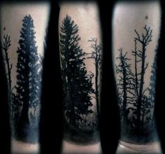 Tree Forester Male Forearm Sleeve Tattoos