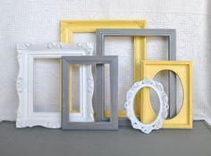 Yellow, Grey White Ornate Frames Set of 6 - Upcycled Frames Modern  Bedroom Decor. $51.00, via Etsy.