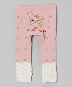 Look at this #zulilyfind! Pink Bunny Floral Pants by Legwarmers Warehouse #zulilyfinds