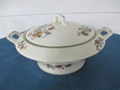 Vintage Crooksville China Covered Vegetable Bowl With by BitofHope