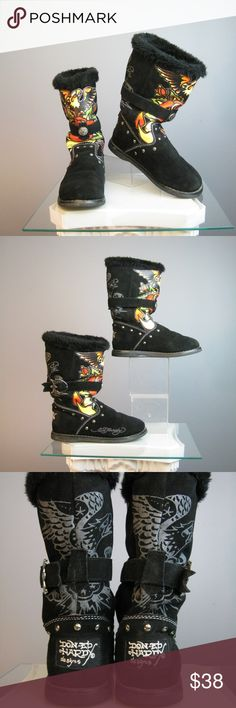 Ed Hardy Black Suede Boots Size 5.5 - 6 Comfy and colorful Black Suede winter boots from Ed Hardy with his iconic tattoo style graphics on the shaft  European 36 which should fit a US size 5.5 to 6 Rea Suede upper. Faux fur on the inside.  Metal studs and buckles. Great to excellent condition please see all the photos for closeups.  Thanks for looking! #26095 Ed Hardy Shoes Ankle Boots & Booties